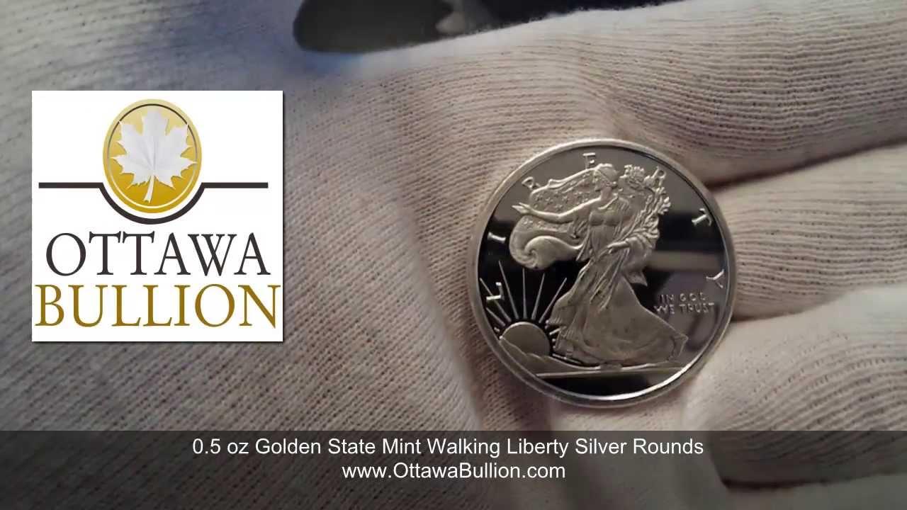 Half Ounce Golden State Mint Walking Liberty Silver Rounds Buy Bar 1oz Ottawa Ottawabullioncom