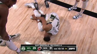 Giannis Antetokounmpo is down yelling and grabbing at his leg | Game 4
