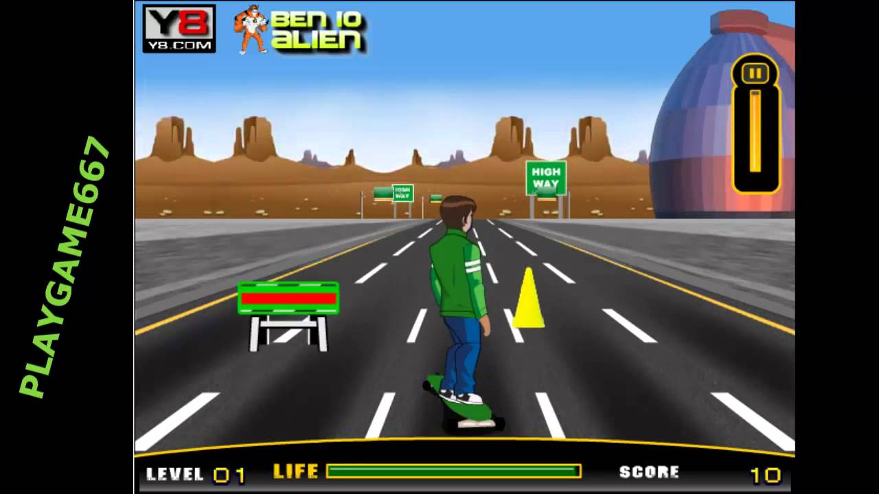 Play Free Game Ben 10 Highway Skateboarding Online Games