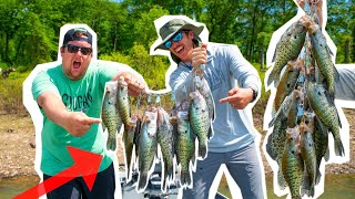 Catching GIANT CRAPPIE On NEW LAKE!! ( Schooling Fish )
