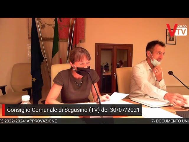 Consiglio Comunale di Segusino (TV), venerdì 30 luglio 2021, ore 20:30