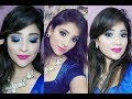 college fresher party makeup ||10 min easy & affordable || royal blue & pink lips || shy styles
