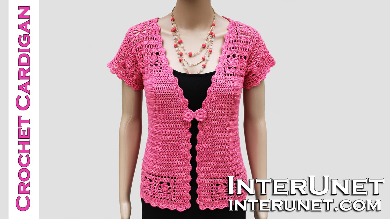 Free Crochet Pattern Short Sleeve Sweater : How to crochet lace cardigan jacket - YouTube