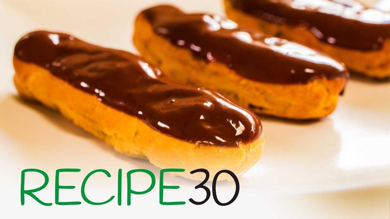 Chocolate eclair with custard filling recipe