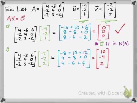 Linear Algebra: Checking If A Vector Is In The Nullspace