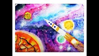 Как нарисовать космос акварелью поэтапно. Видео уроки рисования для детей 6-8 лет(Как нарисовать космос акварелью? Очень просто! Поэтапно. Смотрите видео уроки рисования для детей 6-8 лет..., 2016-03-15T22:11:44.000Z)