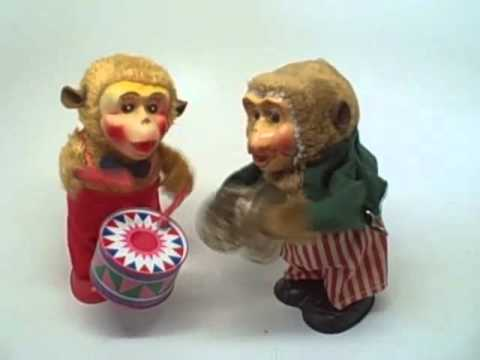 Vintage Wind Up Monkey Toy Band Drummer Cymbals Japan At