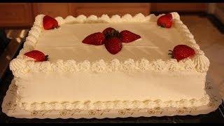White sheet cake decoration