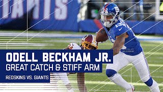 Odell's Ridiculous One-Handed Grab & Spinning Stiff Arm on Norman!   Redskins vs. Giants   NFL