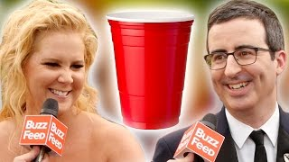 Celebs Play Flip Cup At The Emmys Red Carpet