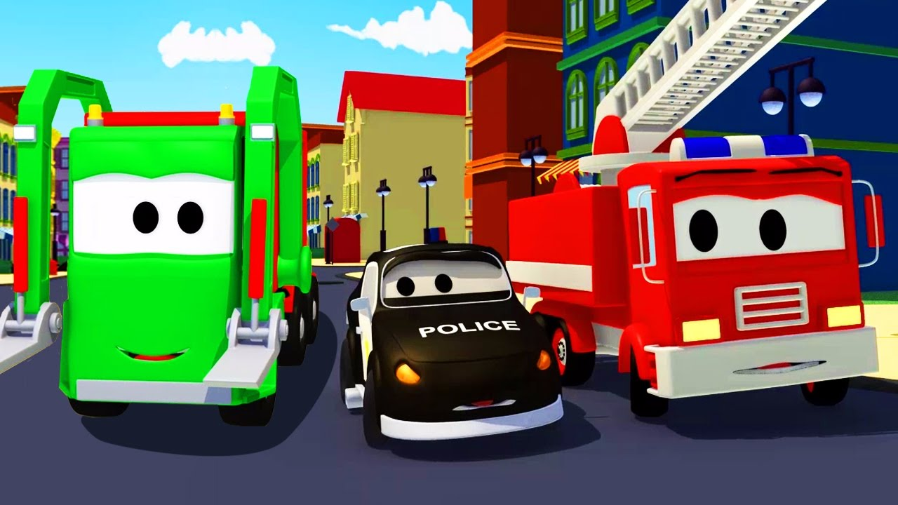Đội xe tuần tra : xe cứu hỏa cùng với xe cảnh sát và xe chở rác ở thành phố xe | Phim hoạt