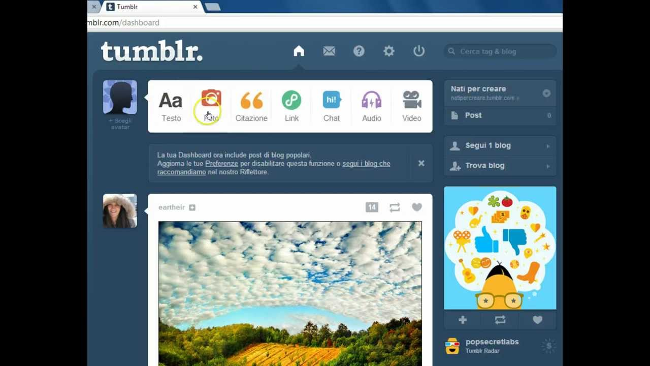 Creare Un Blog Con Tumblr Youtube