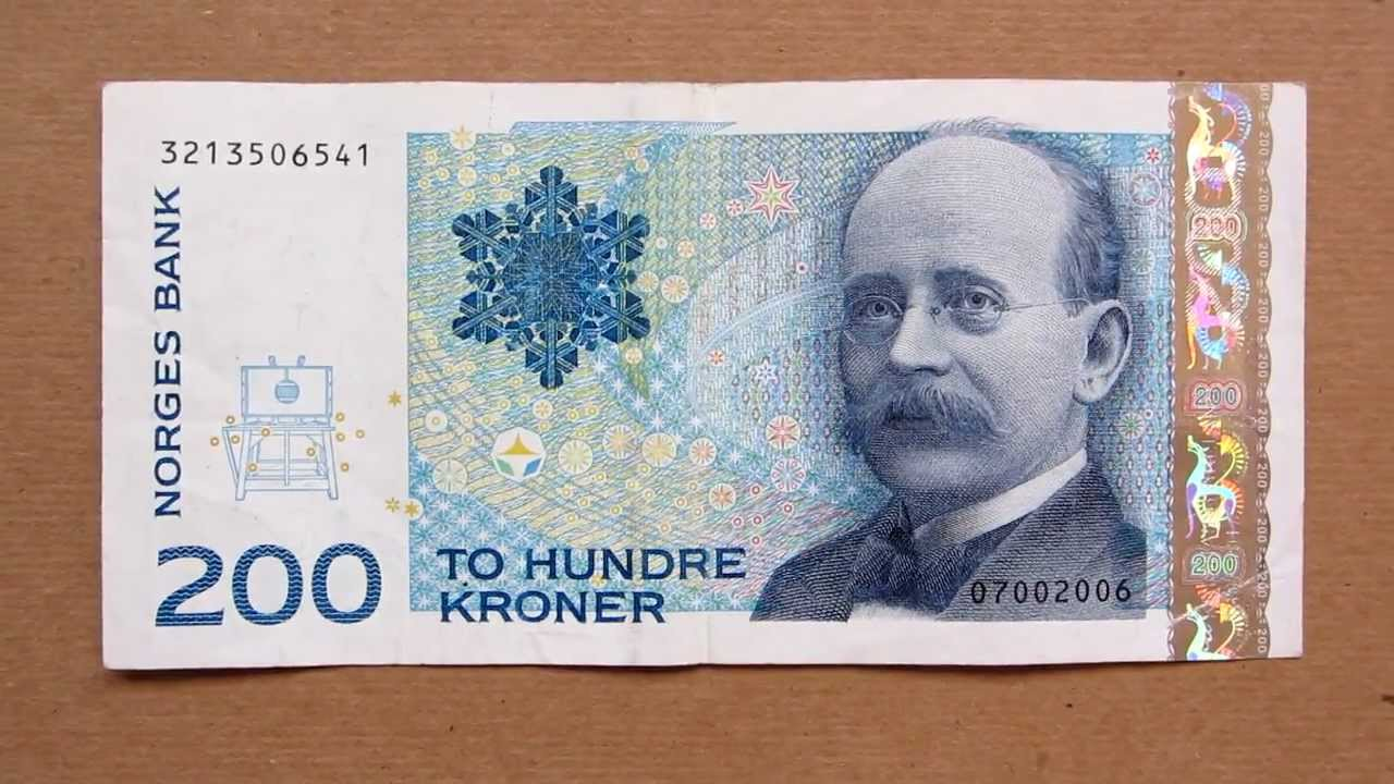 200 Norwegian Kroner Banknote Two Hundred 2002 Obverse And Reverse You