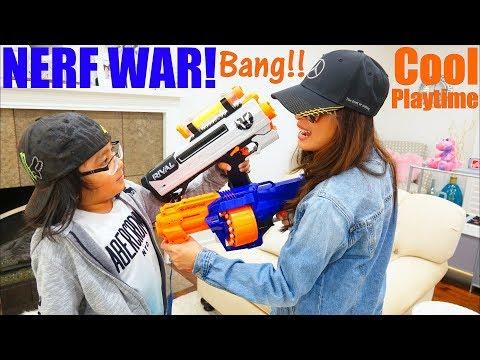 Toy Guns: NERF WAR, Mom Versus Son Toy Gun Playtime! Nerf Surgefire VS Nerf Rival Phantom Corp