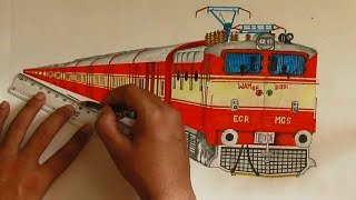 Sketching WAM4P Locomotive with Nizamuddin - Kochuvelli AC Express