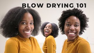 Blowouts on 4C/4B Natural Hair without Heat Damage | Blowdryer Comb