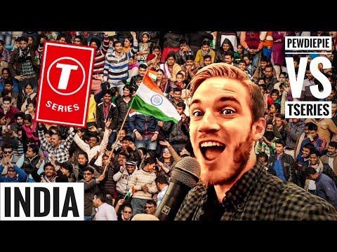 PewDiePie visits INDIA to cross T-Series   Pewdiepie vs Tseries