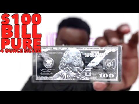 Silver Hundred Dollars Bill 4oz Bar