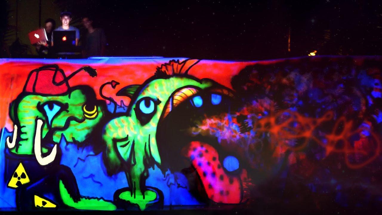 Live Black Light Graffiti Mural 🌴🎉 Thailand Full