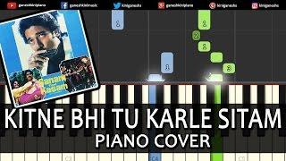 Kitne Bhi Tu Karle Sitam|Song|Piano Chords Tutorial Lesson Instrumental Karaoke By Ganesh Kini