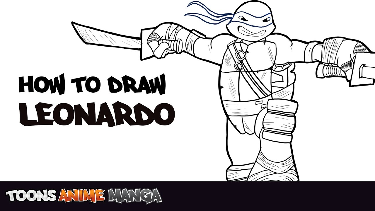 Donatello Ninja Turtle Coloring Pages How To Draw Leo TMNT 2...