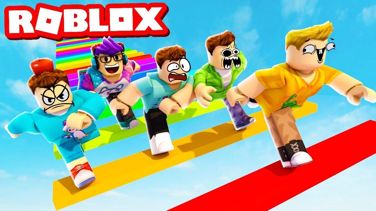 1v1 Rainbow Obby Race W The Pals Roblox Rainbow Obby Youtube