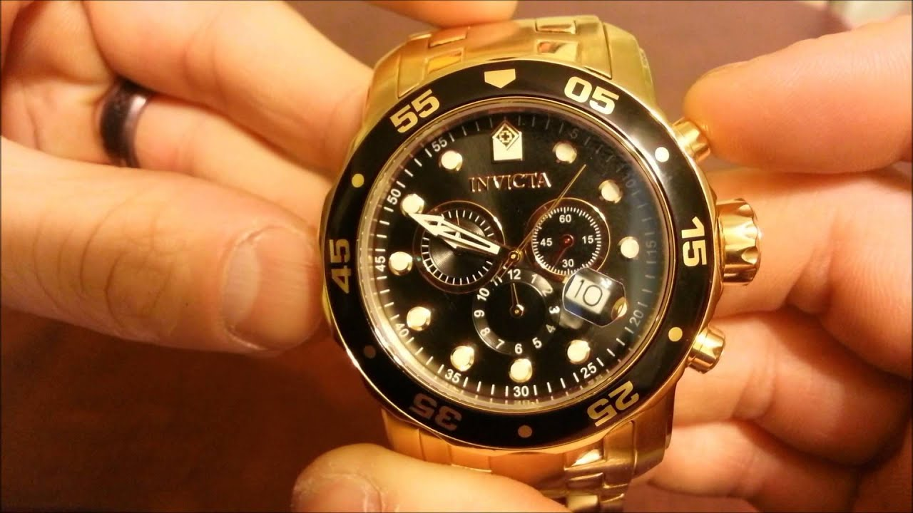 Invicta Menís 0072 Pro Diver Collection Chronograph 18k Gold-Plated Watch