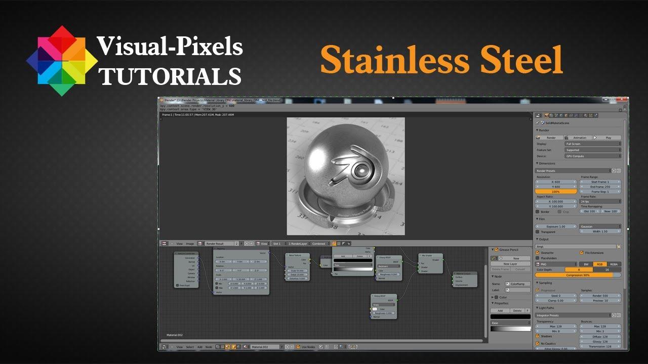 Blender Tutorial Stainless Steel Material Youtube