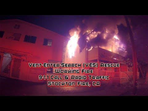 Vent-Enter-Search (VES) Rescue • Working Fire • 911 Call & Fire Audio • Stockton Fire, CA