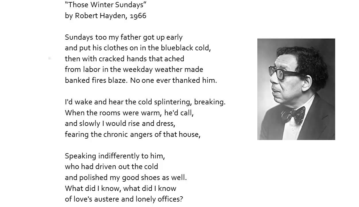 the poem those winter sundays by Key and interpretation guidelines: those winter sundays 1 who is the speaker of the poem a a father looking back on his child's younger years.