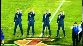 anz stadium boys in the band perform reach out with special olympics australia dancers
