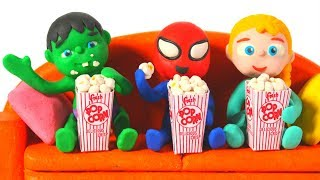 SUPERHERO BABIES ENJOY WATCHING A MOVIE Spiderman Hulk Frozen Elsa PlayDoh Cartoons For Kids