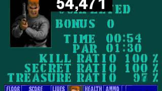 Wolfenstein 3D - Escape from Castle Wolfenstein 1 - speedrun 100% in 54 sec.