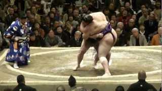 20130113 大相撲初場所初日 豪栄道vs魁聖 豪栄道いい滑り出し.