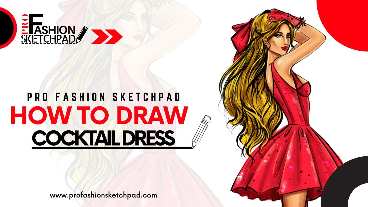 How to Draw Cocktail Dress with Pro Fashion Sketchpad Fashion Female Figure Templates