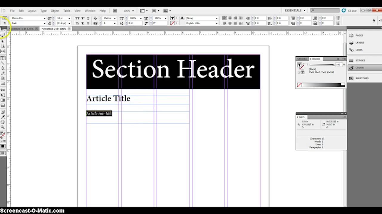 basic newspaper layout - YouTube