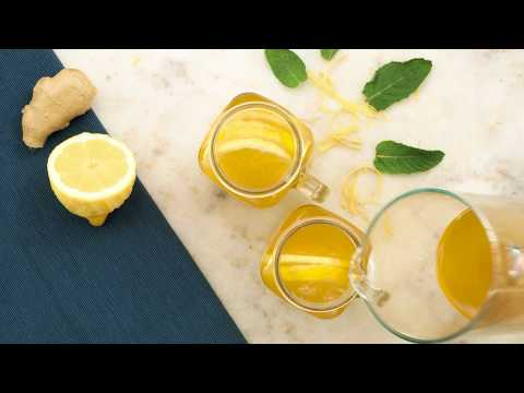 Turmeric Ginger Lemonade with Fresh Mint