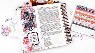 Bible Journaling Process | Faith Like Mary | Using scrapbooking supplies in your Bible!