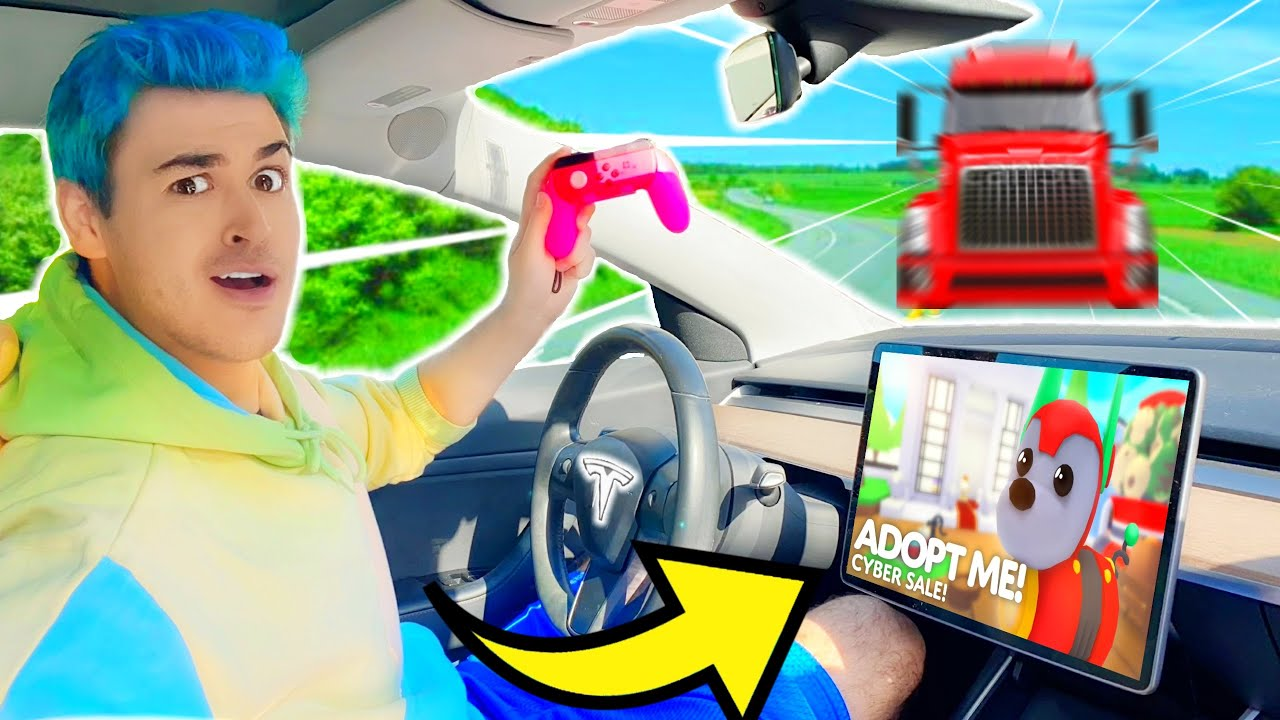 I Played ADOPT ME Until I *CRASHED* My BF's TESLA!! EXPENSIVE Luxury DREAM CAR TOTALED IRL! (Roblox)