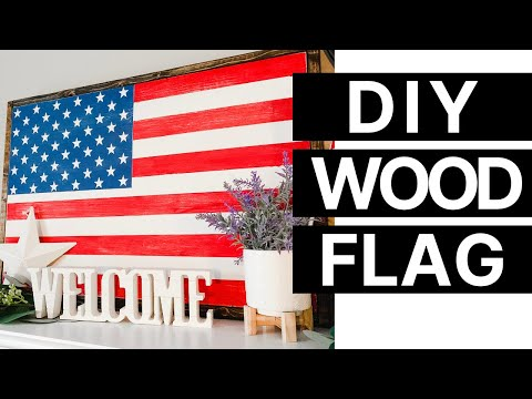 DIY Wood Framed Flag Sign | Farmhouse Patriotic Decor