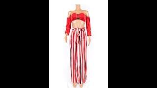 Plus Size Sexy Tube Top Stripe Long Pants Two Piece Set Jumpsuit Wholesale