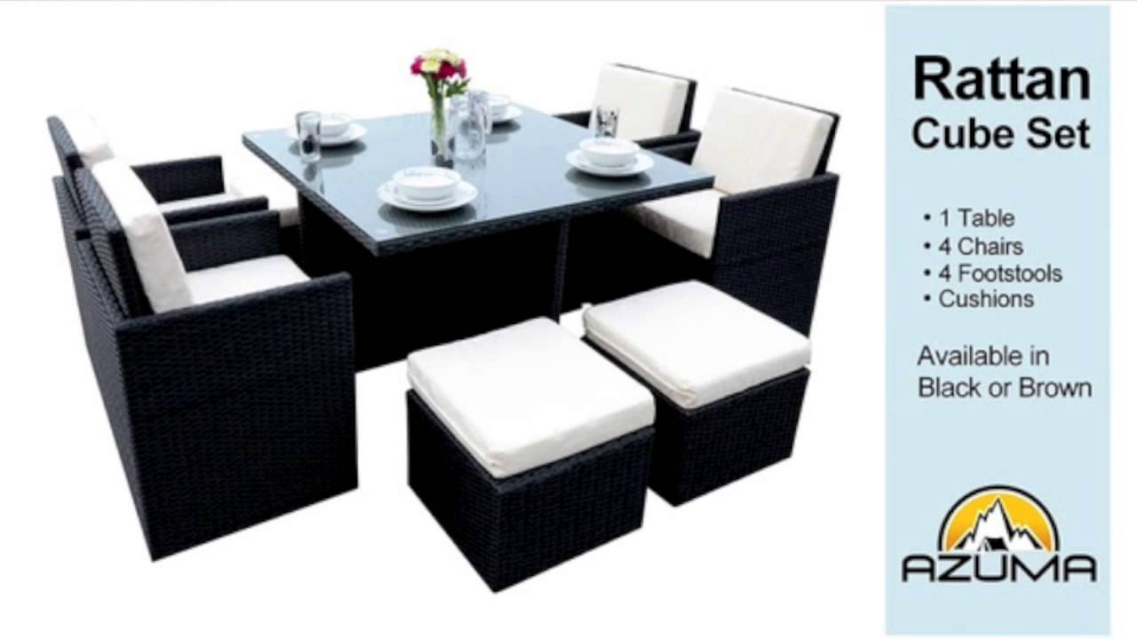 Rattan Garden Chairs And Table Barcelona Chair Replica Uk Cube Furniture Set Youtube