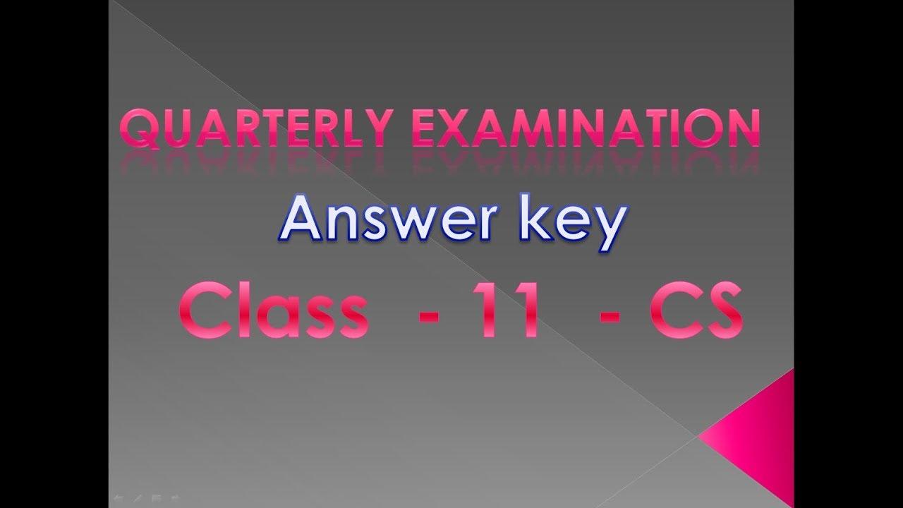#44 - Quarterly Exam Key Answers - 11th Computer Science ...