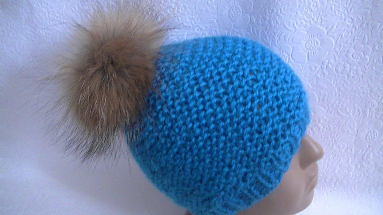 вязание шапки платочной вязкойknitting Hats Garter Youtube