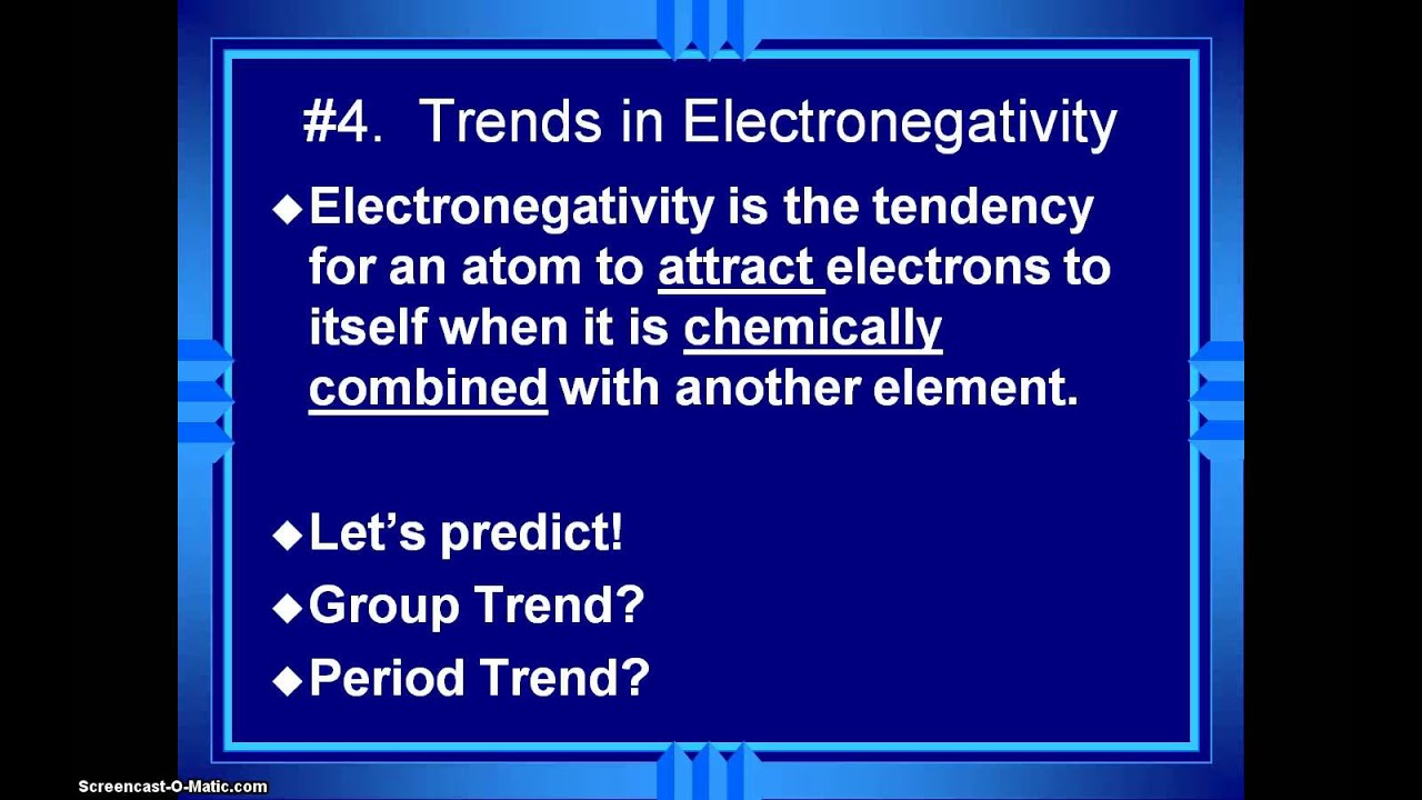 Honors Chemistry Video 3 6 Periodic Table Trend