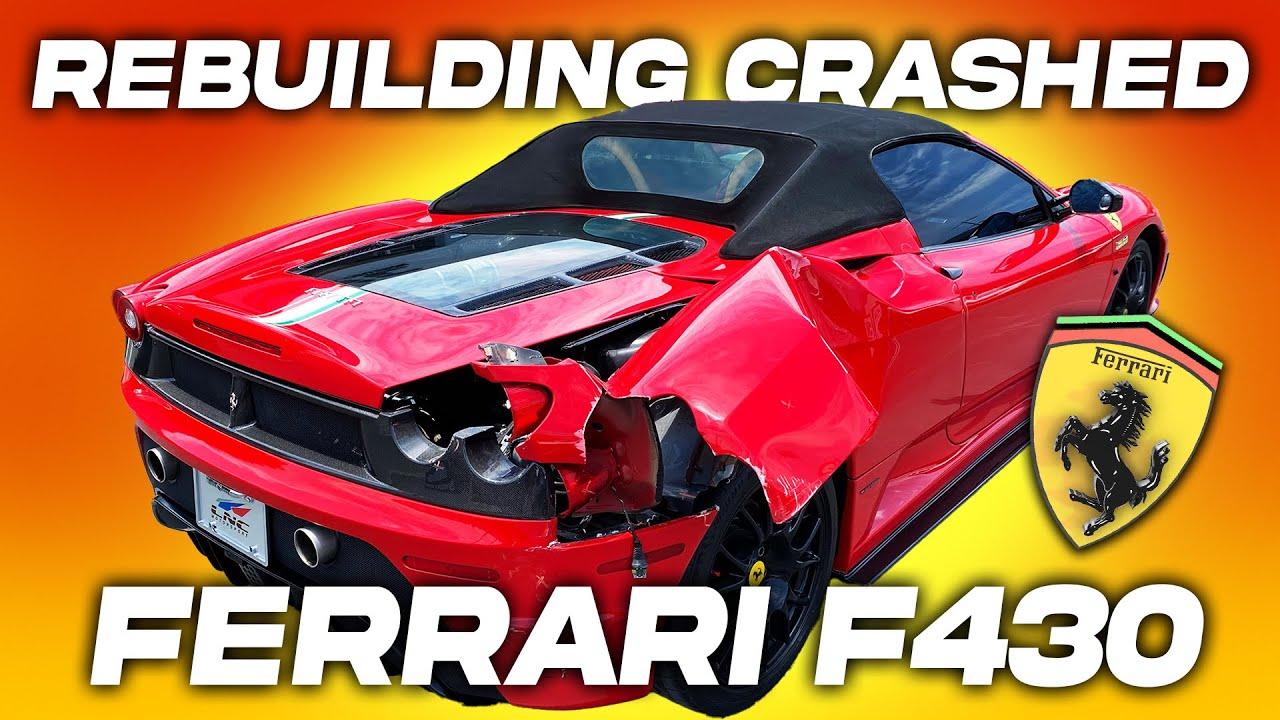 REBUILDING CRASHED 2007 FERRARI F430 SPIDER REAR END QUARTER PANEL DAMAGE (part 1)