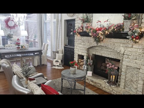 Christmas Decorate With Me/Kitchen Fireplace & Hearth Room Tour/ Modern Farmhouse Glam/ NEW CHANGES