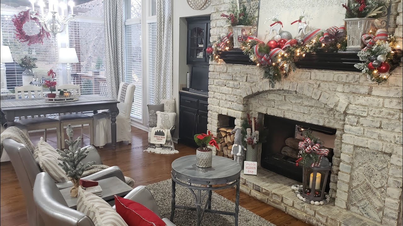 Christmas Decorate With Me Kitchen Fireplace Hearth Room Tour Modern Farmhouse Glam New Changes Youtube
