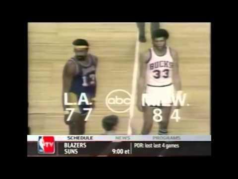 Wilt Chamberlain Defense on Kareem 1971/72 Season