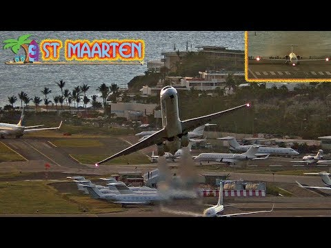 Awesome Takeoff MD80 at ST MAARTEN + Maho Beach